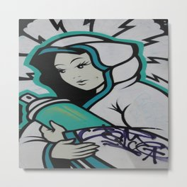 Graffiti Mother Mary   Metal Print