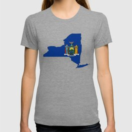 New York Map with State Flag T-shirt