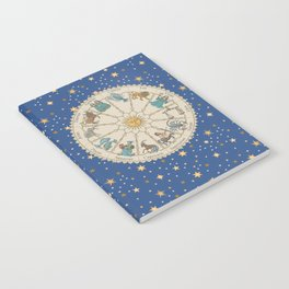 Vintage Astrology Zodiac Wheel Notebook