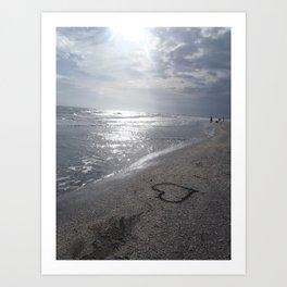 Heart on Beach Art Print