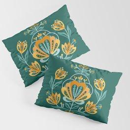 Nordic Dark Green Rose Pillow Sham