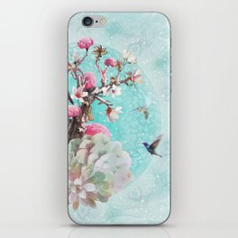 FLORAL HUMMINGBIRD iPhone Skin