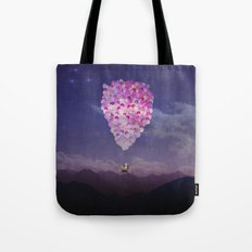 NEVER STOP EXPLORING IV PINK BALLOONS Tote Bag