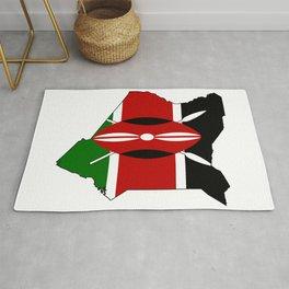 Kenya Map with Kenyan Flag Rug