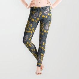 Yellow Floral Gray Leggings