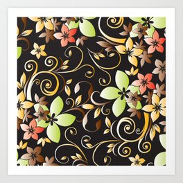 Flowers wall paper 4 Art Print
