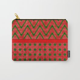 Yuletide Green and Red Polkas and Zig Zag Pattern Carry-All Pouch