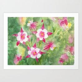 Columbine Watercolor Art Print