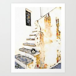 Cat on the steps of a staircase of the historical center of Tortora Art Print