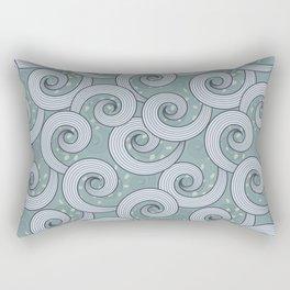 Spiral waves pattern in a bluish green background Rectangular Pillow