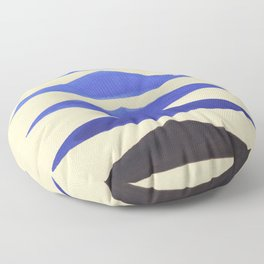 Colorful Blue Geometric Triangle Pattern With Black Accent Floor Pillow