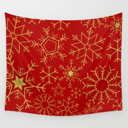 Red and gold snowflakes Wall Tapestry