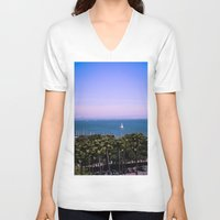 palm trees V-neck T-shirts featuring palm trees by Jared Jung