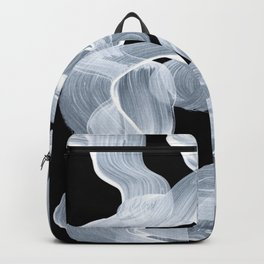 Ghostly Smoke Organic Brush Strokes Black Background Magical Ghostly Pattern Backpack