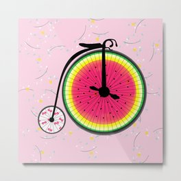 Vintage Bicycle Fruits Wheels Design Metal Print