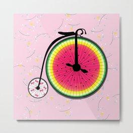 Vintage Bicycle Fruits Wheels Design Metal Print