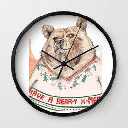 Have A Bear-Y Christmas Wall Clock