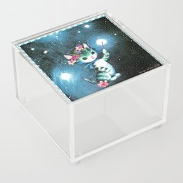 Space Witch Cat handcut collage Acrylic Box