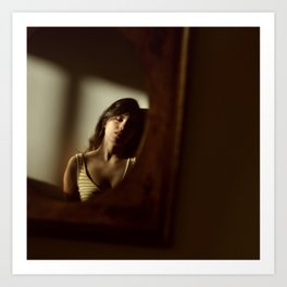 Girl and Light Reflection Art Print