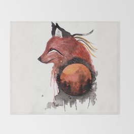 Tetrad the Bloodmoon Fox Throw Blanket