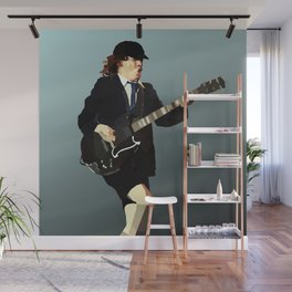 Low Polygon Portrait of Angus Young Wall Mural