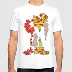 Melting Women and Orchids White Mens Fitted Tee SMALL