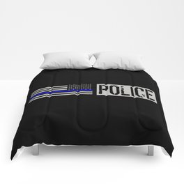Police: Police Flag (Thin Blue Line) Comforters
