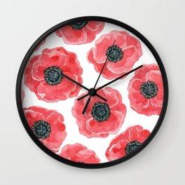 Popies watercolor Wall Clock