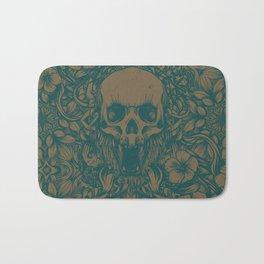 Blue Skull in jungle Bath Mat