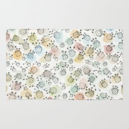 Vintage polka dot cups and flowers Rug