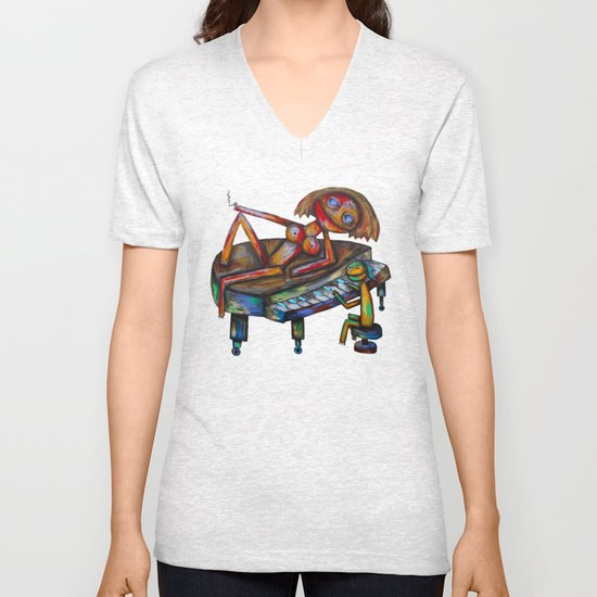 Every morning Jack plays the piano! Unisex V-Neck