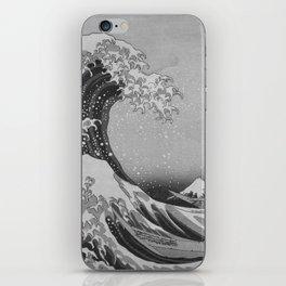 Black & White Japanese Great Wave off Kanagawa by Hokusai iPhone Skin