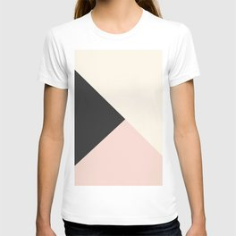 Geometrical coral ivory black modern color block T-shirt