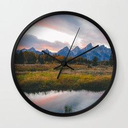 Grand Teton Sunset Wall Clock