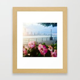 Battery Park New York City Skyline with Pink Hibiscus Flowers Framed Art Print