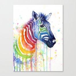 Zebra Rainbow Watercolor Whimsical Animal Canvas Print