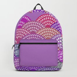 seigaiha wave lilac purple pink colors abstract scales Backpack