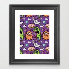 Greedy Monsters Framed Art Print