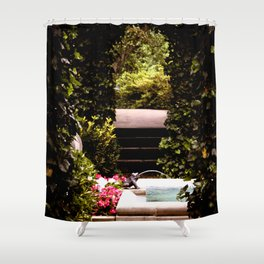 Secret Garden with Frog Prince Fountain Shower Curtain
