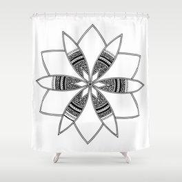 Simple black mandala on white Shower Curtain