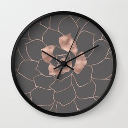 Rosegold  blossom on grey - Pink metal - effect flower Wall Clock