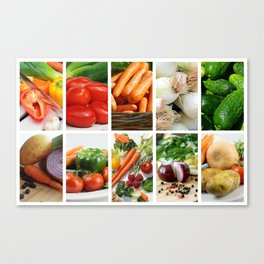 Vegetable Bounty Collage - Kitchen or Cafe Decor Canvas Print