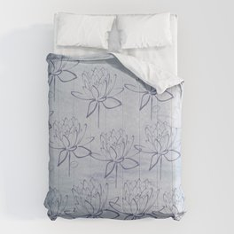 Summer Blues Line Art Flowers Comforters