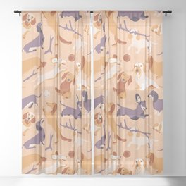 Dachshunds Sheer Curtain