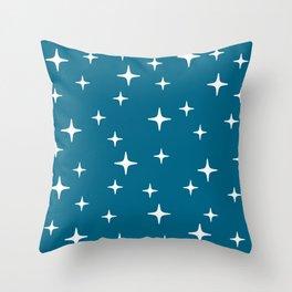 Mid Century Modern Star Pattern 443 Peacock Blue Throw Pillow