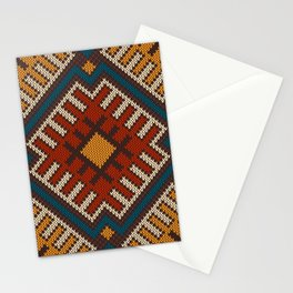 Tribal Aztec seamless pattern on the wool knitted texture Stationery Cards