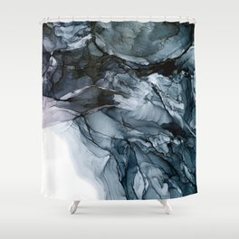 Dark Payne's Grey Flowing Abstract Painting Shower Curtain