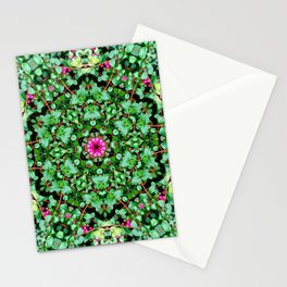 mandala with green leaves Stationery Cards