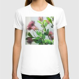 Japanese Pink Flowers By White Wall T-shirt