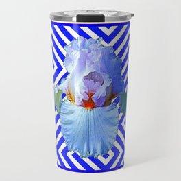 CONTEMPORARY BLUE & WHITE PATTERN IRIS PATTERN Travel Mug
